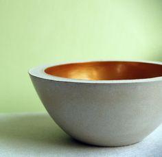 Misa na klucze i drobne #concrete #bowl #vessel #gold #ceramic