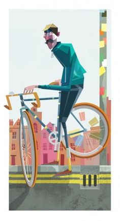 London cyclist Illustration by Robert Ball. ... | Dirk Petzold Illustrations Poster Design #illustration #cyclist
