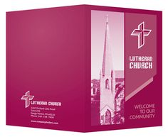 Magenta Lutheran Church Visitor Folder Template #template #church #lutheran #magenta