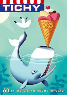 TICHY Ice Cream Posters on Illustration Served #whale #ice #illustration #cream