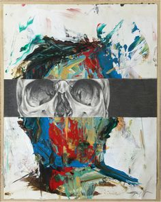 Untitled (Split 1) #art #illustration #painting #graphite #skull #acrylic