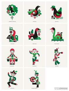 fernando volken togni #magpie #red #days #london #icons #christmas #illustration #studio #green