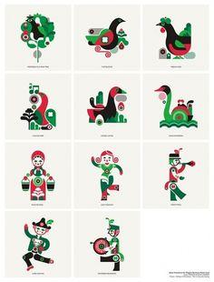 fernando volken togni #magpie #red #days #london #icons #christmas #illustration #studio #green