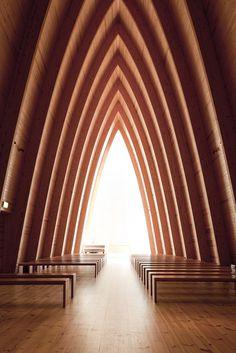 Turku chapel #ecumenical #chapel #church #architects #finland #wood #st #architecture #henrys #art #sanaksenaho #turku