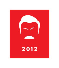 Swanson 2012 #red #2012 #parks #election #president #mustache #recreation #illustration #poster #and #politics #ron #swanson