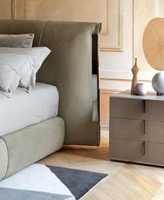 Carlo Colombo designed Amal bed and lamp for Flou - InteriorZine