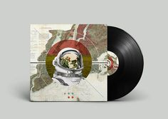 Off Record on Behance #album #montage #astronaut #noa #map #geometric #record #vinyl #illustration #stain #music #joy #collage #mountains #emberson