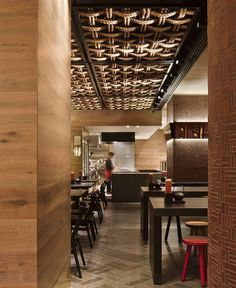 Modern Japanese Style Restaurant colour palette black red warm timbers3 #restaurant #japanese #restaurant design #ceiling