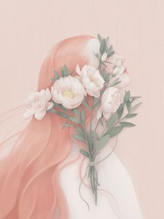 portraits - Hsiao Ron Cheng #rose #design #hair #illustration #painting #art #flower #pastel