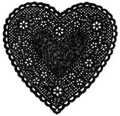 coqueterías - Much Love Black by ashleyg on Etsy #heart #papercut #doily #black