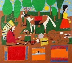 Outsider Folk Art Gallery - Outsider Art | Floretta Emma Warfel | WAF007 | #painting #naive #art