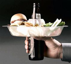Go Plate is a sturdy plate that allows you to have a free hand while eating and drinking.