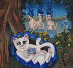SneekyPeekBathers.jpg (JPEG Image, 600x562 pixels) #cat #dream #women #stars #painting #art #flower