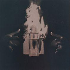 Anton Senkov, series of cyanotype illustrations for #flames #sin #sepia #burning #illustration #fire #hands #dark