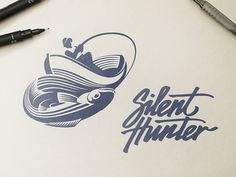Silent Hunter Logo Design by http://ramotion.com #logo #branding #logodesign #sketch #drawing #ink #pencil #negativespace #ramotion