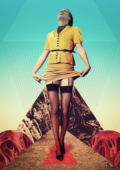 Julien Pacaud / The Tulip / colagene.com #woman #montage #photo #legs #geometric #illustration #dress #vintage #laugh #surrealistic