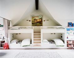 a quad of bunk beds in a bunk room for kids (via lonny magazine) #interior #design #decor #deco #decoration