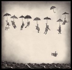 breeze01.jpg (1200×1160) #ocean #umbrellas #falling #people #floating #illustration #sea