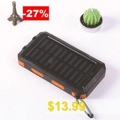 Waterproof #Compass #Solar #Mobile #Power #Bank #10000mAh #- #ORANGE