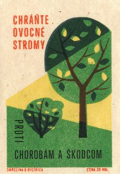 czechoslovakian matchbox label | Flickr - Photo Sharing! #matchbox #illustration #trees #label