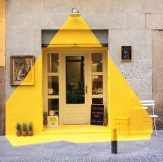 The Ephemeral Lighting Installation by (fos) in Madrid #yellow #door