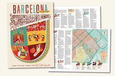 Barcelona At Ease | Herb Lester #illustration #barcelona #travel #map