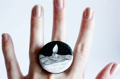 Piccsy :: Illustrated jewelry - black and white - polymer clay ring - ready to ship #fashion