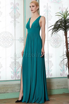 Blue V-Cut Slit New Bridesmaid Dress Evening Gown -eDressit(07200305)