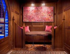 Abstract painting in luxury box in wine cellar