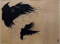 Kunstliefde #painting #birds #cardboard