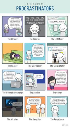 12 types of procrastinators #infographic #comic #grid #procrastination #funny