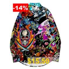 WAWNI #Fashion #Turn-down #Collar #Shirt #Cool #Loose #Hip #Hop #Spring #Autumn #Streetwear
