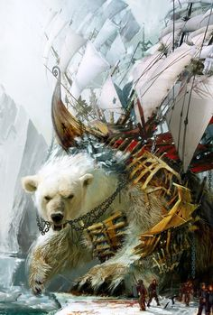 by Daniel Dociu #polar #fantasy #illustration #ship #concept #art #bear #armour #beauty