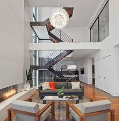 Modern House Nearby Lake Michigan With a Sense of Verticality by Joseph Trojanowski #interior #modern #design #living #fireplace #room