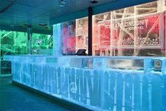 Art bar with amazing ice decor #hotel #ice #art