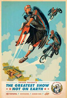 EVENT POSTER, Toyota Sky Psycho, Saatchi #bmx #skateboard #flying #dirt bike #superhero