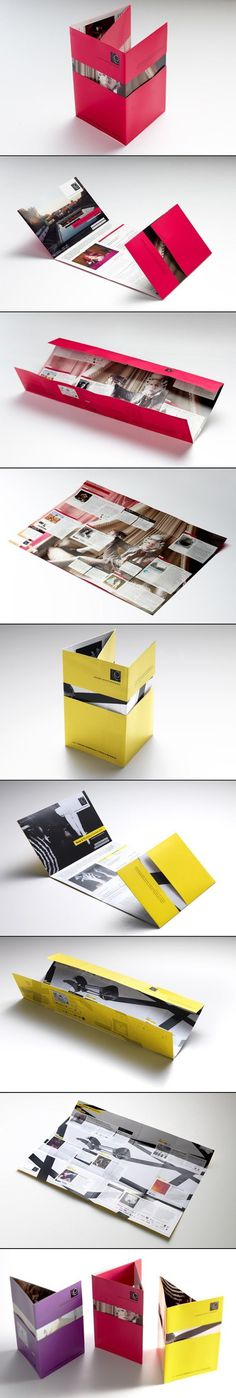 Interesting multi fold poster brochure – nifty idea for revealing designs #folded