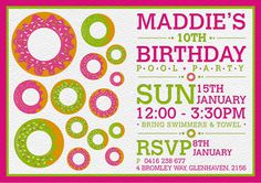 Donuts Pool Party Mila #green #sun #white #girl #invitation #pink #design #letterpress #graphic #illustration #children #party