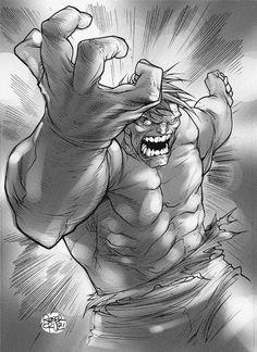 THE HULK BY ROGER CRUZ #hulk #smash #white #perspective #black #comic #hero #illustration #marvel #and #drawing #sketch