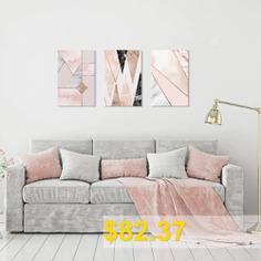 Seven #Wall #Arts #7JCSL032 #Nordic #Pink #Marble #Geometric #Pattern #Painting #3pcs #- #MULTI