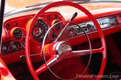 red vintage interior, car interior, classic car photography