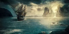 Ship Photo Manipulation scene on Behance #galleon #fantasy #water #bay #coast #photo #island #rocks #ship #photoshop #manipulation #sea #beach #pirate