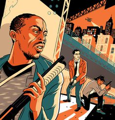 Illustration for Paste Magazine of Omar, McNulty, and Kima from The Wire
