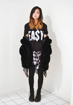 Choies Faux Fur Jacket, Ea$Y Men's T Shirt, Romwe Velvet Leggings, 2020 Ave Plaid Shirt #fashion #photography #woman