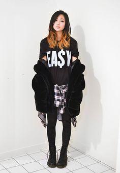 Choies Faux Fur Jacket, Ea$Y Men's T Shirt, Romwe Velvet Leggings, 2020 Ave Plaid Shirt #fashion #photography #woman