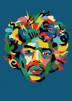 Jimi Hendrix by Andy Gellenberg #popart #vector #icon #rock #jimi #color #head #eye #portrait #woodstock #music #logo #fun #hendrix