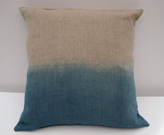 Ombre blue Indigo dip dyed organic linen pillow / cushion cover #dye #dip