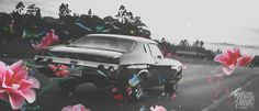 http://rockwellforever.tumblr.com/post/45203429114/keep-on-movin-dont-stop-and-smell-the-flowers #white #color #black #photography #cars #and #car #flowers