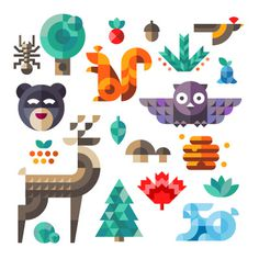 Ff #illustration #geometric #animals