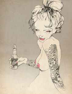 Dr pepper #line #macabre #design #illustration #sex
